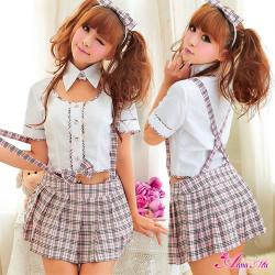 ピンクチェックのキュート女子高生制服コスプレz893☆イベントやパーティーに!セクシーコスプレ♪の画像