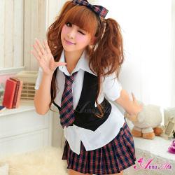 赤チェックのキュート女子高生制服コスプレ z889☆イベントやパーティーに!セクシーコスプレ♪の画像