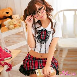 赤チェックのキュート女子高生制服コスプレ z842☆イベントやパーティーに!セクシーコスプレ♪の画像