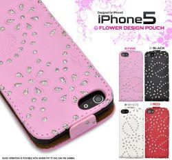 iPhone5専用フラワーデザインケースポーチ☆iPhone5専用スマホケース・スマホカバーの画像