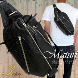 Maturi 日本製ヌメ革 クロコボディバッグ ショルダー ブラック☆ブランド 『Maturi(マトゥーリ)』の紳士用バッグ