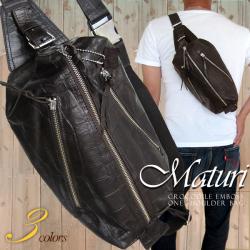 Maturi 日本製ヌメ革 クロコボディバッグ ショルダー ダークブラウン☆ブランド 『Maturi(マトゥーリ)』の紳士用バッグの画像