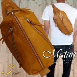 Maturi 日本製ヌメ革 クロコボディバッグ ショルダー キャメル☆ブランド 『Maturi(マトゥーリ)』の紳士用バッグの画像