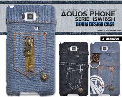 AQUOS PHONE SERIE ISW16SH用 デニムデザインケースaisw16sh-10☆au AQUOS PHONE SERIE ISW16SH専用スマホケース・スマホカバーの画像