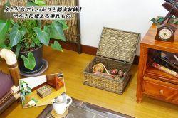 《完売》ブリ・フタ付きスクエアバスケット(中) ba-007-2a☆自然素材のブリで作られたフタ付きスクエアバスケットの登場!
