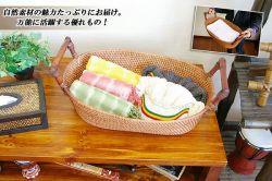 《完売》取っ手付きラタン×アタ・バスケット 17-bm26-5a☆天然素材のラタン、アタで作られたバスケット