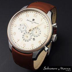 Salvatore Marra(サルバトーレ・マーラ) ビッグフェイス・クロノグラフ メンズ腕時計AC-W-SM12126-PGWH【送料無料】☆レトロなデザインの画像