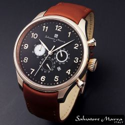 Salvatore Marra(サルバトーレ・マーラ) ビッグフェイス・クロノグラフ メンズ腕時計AC-W-SM12126-PGBK【送料無料】☆レトロなデザインの画像