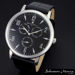 Salvatore Marra(サルバトーレ・マーラ) マルチファンクション メンズ腕時計AC-W-SM12125-SSBK【送料無料】☆レトロなデザインの画像