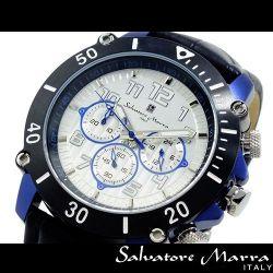 Salvatore Marra(サルバトーレ・マーラ) ビッグフェイスクロノグラフ メンズ腕時計AC-W-SM11132-IPSVBLU【送料無料】☆インパクト大!の画像
