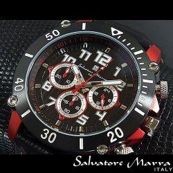 Salvatore Marra(サルバトーレ・マーラ) ビッグフェイスクロノグラフ メンズ腕時計AC-W-SM11132-IPRDBK【送料無料】☆インパクト大!の画像