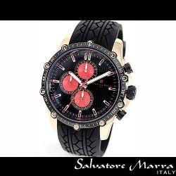 Salvatore Marra(サルバトーレ・マーラ) ビッグフェイス・クロノグラフ メンズ腕時計AC-W-SM11107-PGBKRD【送料無料】☆ラバーベルト使用の画像