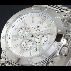 Salvatore Marra(サルバトーレ・マーラ) クロノグラフ メンズ腕時計AC-W-SM7019-WH【送料無料】☆クロノグラフ機能搭載ムーブメントの画像