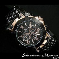 Salvatore Marra(サルバトーレ・マーラ) クロノグラフ メンズ腕時計AC-W-SM7019-PGBK【送料無料】☆クロノグラフ機能搭載ムーブメントの画像