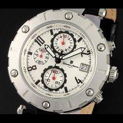 Salvatore Marra(サルバトーレ・マーラ) ビッグフェイスクロノグラフ メンズ腕時計AC-W-SM12116-SSWH【送料無料】☆インパクト大!の画像