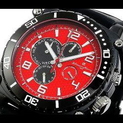Salvatore Marra(サルバトーレ・マーラ) ビッグフェイス メンズ腕時計AC-W-SM9010-IPBKRD【送料無料】☆ラバーベルト使用の画像