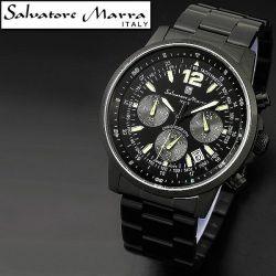 Salvatore Marra(サルバトーレ・マーラ) オールブラック・クロノグラフ メンズ腕時計AC-W-SM12110-IPBK【送料無料】☆大人テイストの画像