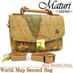 ワールドマップ 地図柄 セカンドバッグ ショルダーMT-05 ☆デザイン・収納ともにバッチリ!の画像