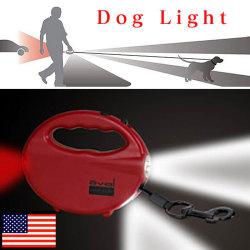 オーバル・ドッグライト☆犬の散歩にうってつけ。巻き取り式リード付3方向LEDライトの画像