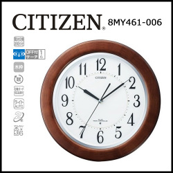 シチズン 自動点灯機能付電波掛時計 リバライトF461【送料無料】☆文字板が全面発光する夜間自動点灯電波時計の画像