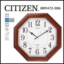 シチズン 電波掛時計 ネムリーナハピネス☆シンプル・レトロなデザインの木枠電波掛時計の画像