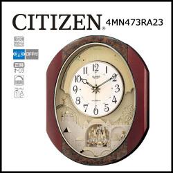電波からくり時計 掛け時計 パルタージュM473N【送料無料】☆毎正時にメロディに合わせて文字盤が変化するからくり時計!の画像