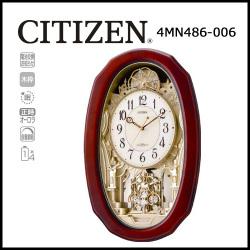 シチズン 電波掛時計 パルミューズM486【送料無料】☆毎正時に美しいメロディが流れる時刻合わせ不要の電波時計の画像