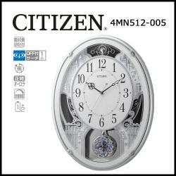シチズン 電波掛時計 パルミューズプラウド 緑メタリック色☆毎正時に美しいメロディが流れる時刻合わせ不要の電波時計の画像