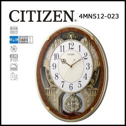 シチズン 電波掛時計 パルミューズプラウド 木目仕上げ☆毎正時に美しいメロディが流れる時刻合わせ不要の電波時計の画像