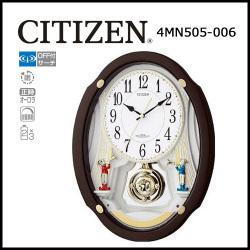 シチズン 電波掛時計 パルミューズドリーム 茶メタリック色☆毎正時に美しいメロディが流れる時刻合わせ不要の電波時計の画像
