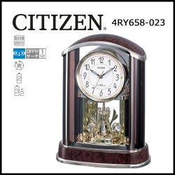 シチズン 電波置時計 パルアモール R658【送料無料】☆秒針「スー、ピタッ」木目仕上げのおしゃれな電波時計の画像