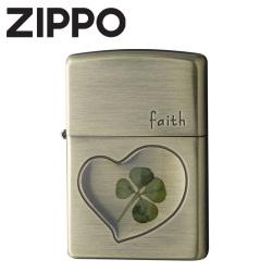 ZIPPO 四つ葉 本物のクローバー使用!の画像