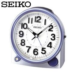 セイコー SEIKO 目覚まし時計 KR846S 置き時計 自動点灯 時計 アナログ 銀 青 SEIKO CLOCK セイコークロックの画像