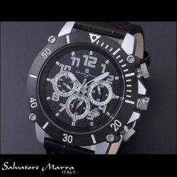 サルバトーレマーラ SM13115-SSBKSV アルミ クロノグラフ腕時計 革ベルト メンズ  Salvatore Marra クオーツ時計【送料無料】の画像