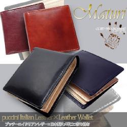 Maturi マトゥーリ プッチーニイタリアンレザー×日本製ヌメ革 二つ折財布 MR-018の画像