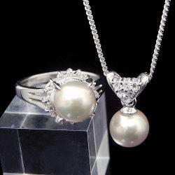 8ミリ玉国産本真珠リング&ペンダントセット【チラシ掲載1406】の画像