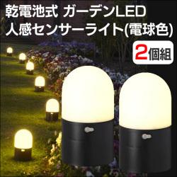 乾電池式 ガーデン LED センサー ライト 電球色 2個組 YL-003の画像