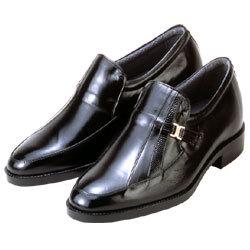 背が高くなる靴 カンガルー革モカスリッポン(ブラック)【No635】5cmUP【送料無料】の画像