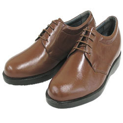 背が高くなる靴 カンガルー革プレーンヒモ(ブラウン)【No975】5cmUP【送料無料】の画像