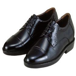 背が高くなる靴 牛革キップストレートチップ(ブラック)7cmUP No286【送料無料】の画像