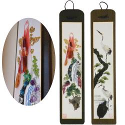 立体貴石画 短冊2対(赤富士、松に鶴亀)セット【カタログ掲載1410】の画像