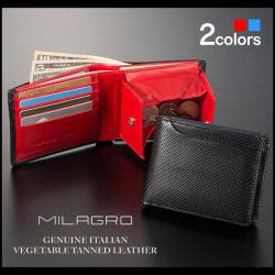 Milagro パンチングレザー二つ折り財布 BT-WS16【送料無料】の画像