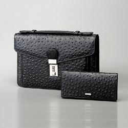 トムモリス メンズ 本革手提げバッグ&財布セット【送料無料】の画像