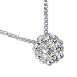 K18WGミステリーセッティングダイヤモンドフラワーペンダント 60-1104【送料無料】の画像