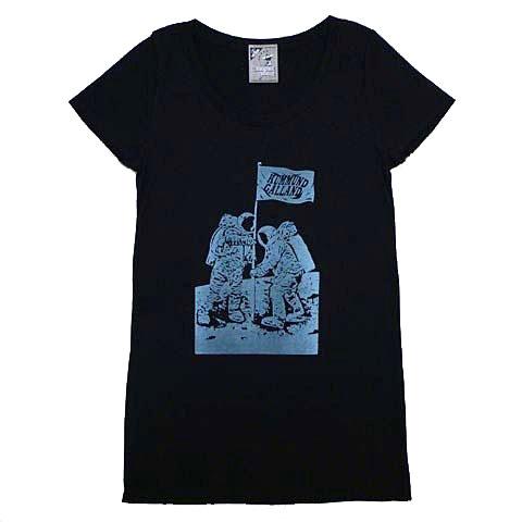 レディース月面着陸ロング丈Tシャツ
