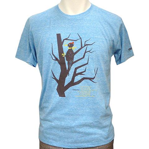 クマゲラTシャツ 杢ターコイズ フロント