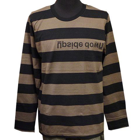UPSIDE DOWNボールドボーダーロングスリーブTシャツ チャコール フロント