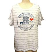レディースストレイキャットドルマンスリーブTシャツ ホワイト×グレイ フロント