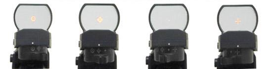 4種類のドットパターンに切り替えられます。明るさは5段階から調節可能