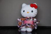 ハローキティ/和風キティ/Hello Kitty/【桜22】キティぬいぐるみ(座)黒